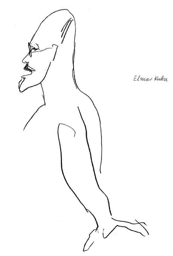Elmar L. Kuhn, Zeichnung von Ursula Wentzlaff. 1989